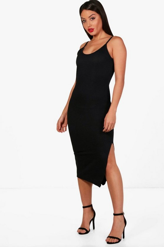 Textured Split Midi Bodycon Dress