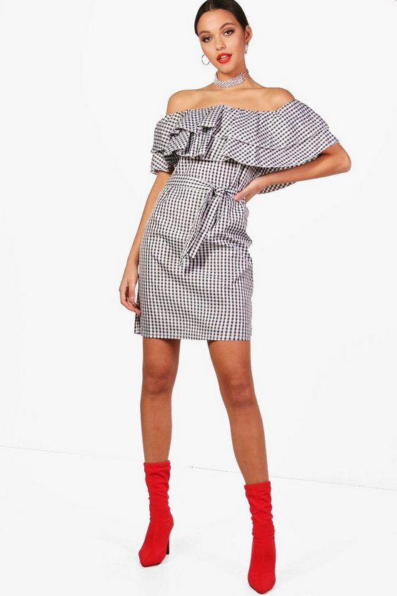 Gingham Ruffle Off Shoulder Dress