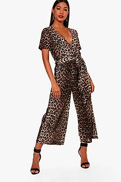 Vintage High Waisted Trousers, Sailor Pants, Jeans Janette Leopard Print Wrap Front Culotte Jumpsuit $34.00 AT vintagedancer.com