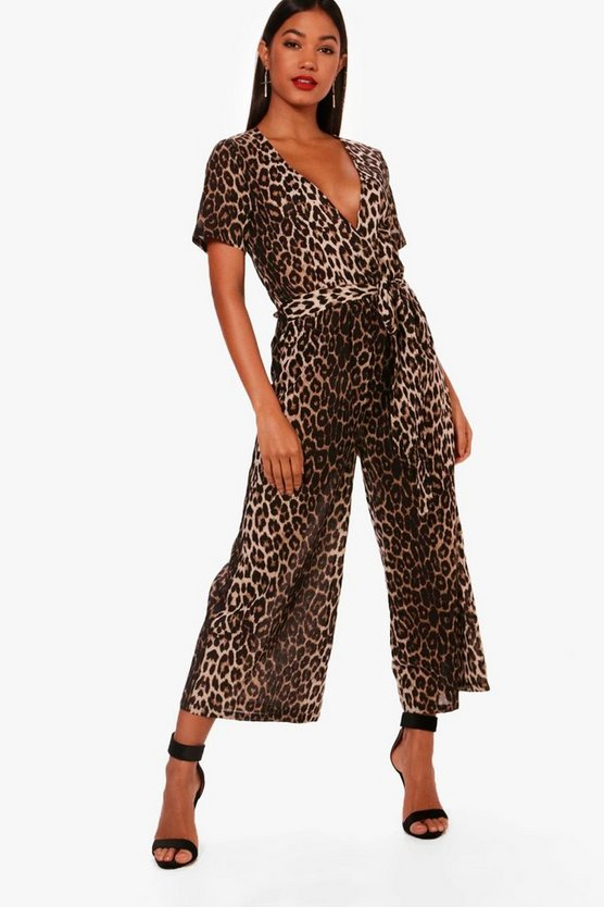 Womens Brown Leopard Print Wrap Front Culotte Jumpsuit
