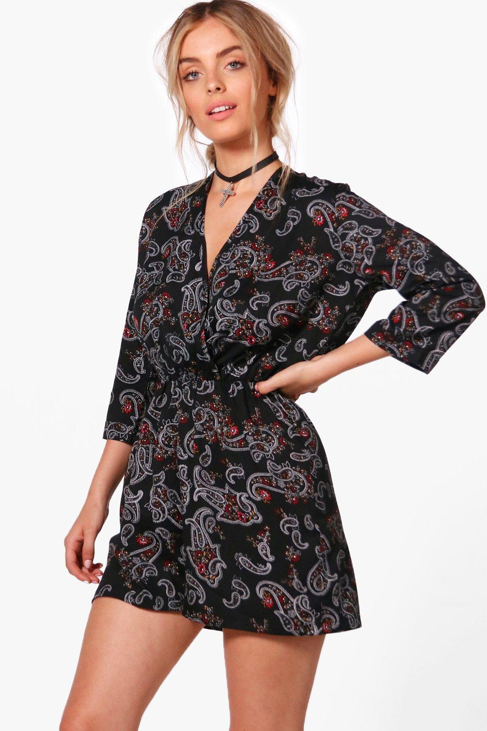 Paisley Wrap Front Playsuit