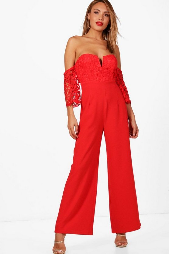 Crochet Off The Shoulder Jumpsuit
