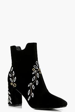 1960s Inspired Fashion: Recreate the Look Kasey Embroidered Ankle Boot $60.00 AT vintagedancer.com