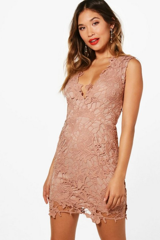 Nude Boutique  Lace Scallop Detail Dress