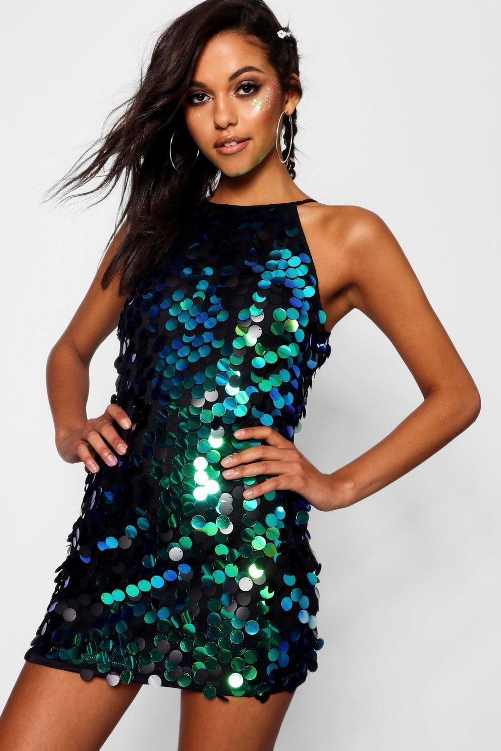 eaa979567f5ea Boutique Iridescent Disc Sequin Dress | Boohoo