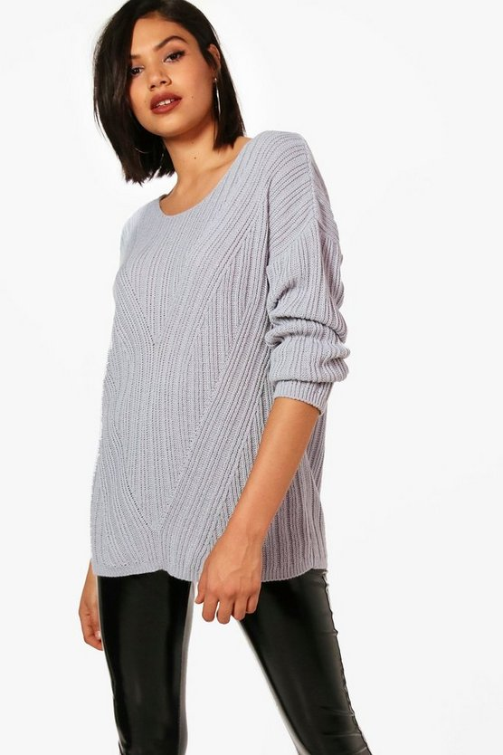 Rib Detail Oversized Jumper