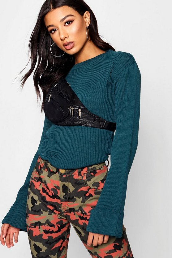Wide Maxi Sleeve Rib Knit Jumper