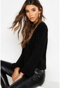 Womens Black Maxi Sleeve Wide Rib Jumper