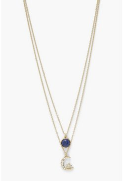 Womens Gold Layered Moon And Circle Necklace