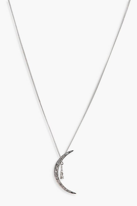 Jessica Diamante Moon And Star Charm Necklace