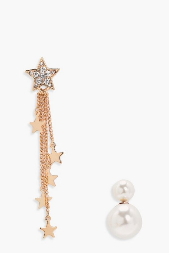Charlotte Diamante Star Drop Earrings Pearl Stud