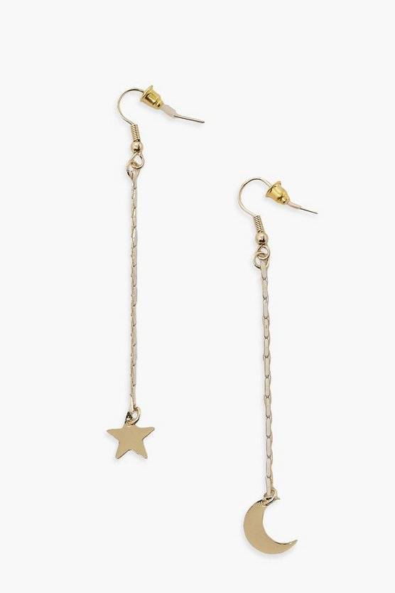 Moon And Star Drop Earrings, Gold, Donna