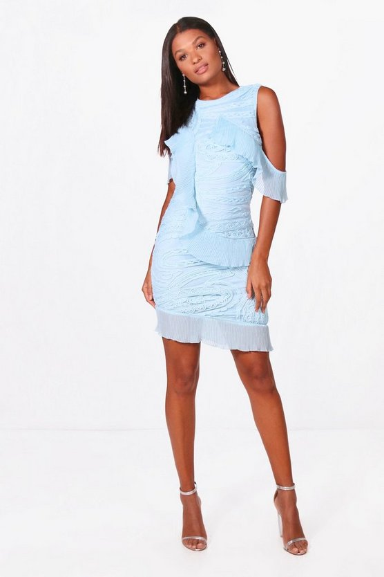 Boutique Cold Shoulder Frill Dress