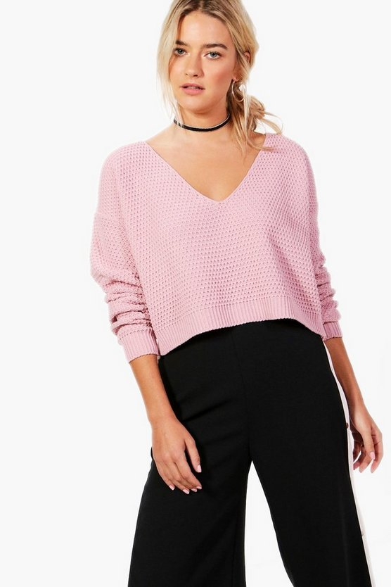 V Neck Crop Knit Jumper