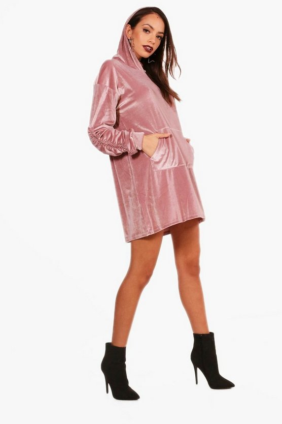 Velvet Ruched Sleeve Sweat Dress