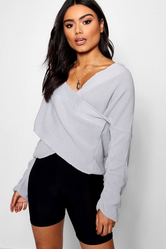 Womens Grey Wrap Jumper