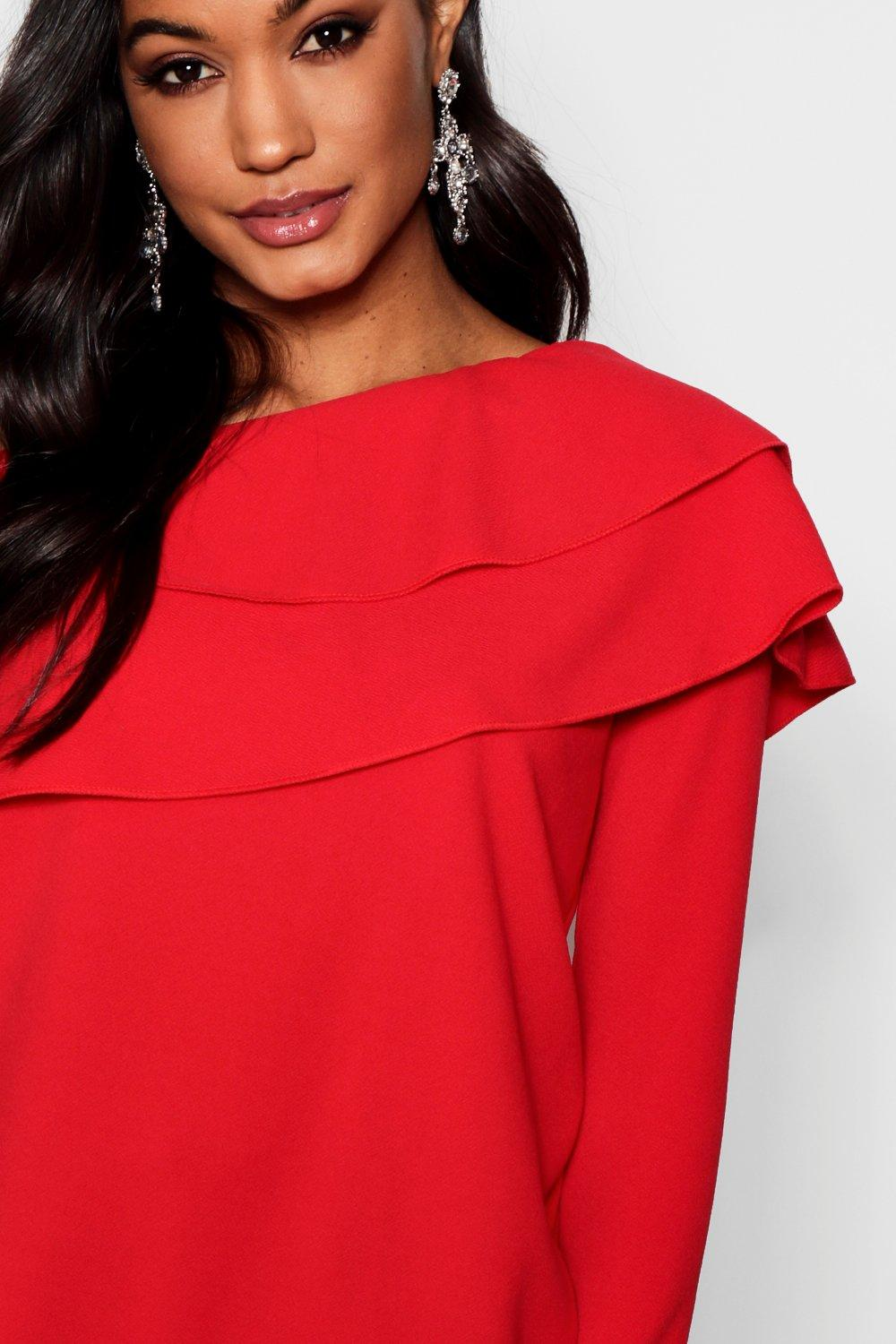 Frill One red Frill Top One Shoulder YnOZSwv5Wq