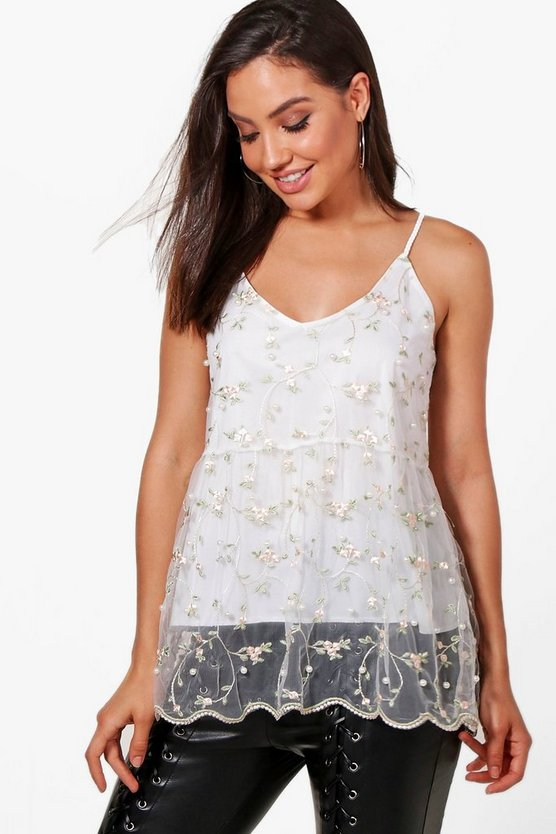 Ava Embroidered Pearl Embellished Mesh Cami
