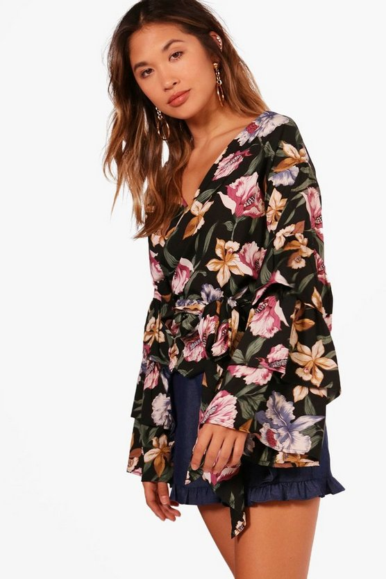 Floral Woven Tiered Sleeve Top