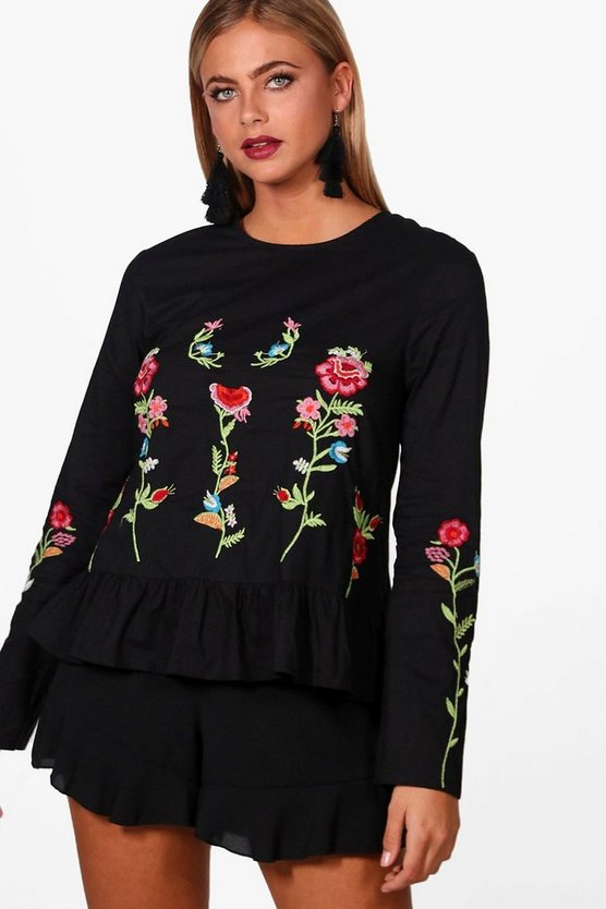 Boutique Embroidered Woven Peplum Top