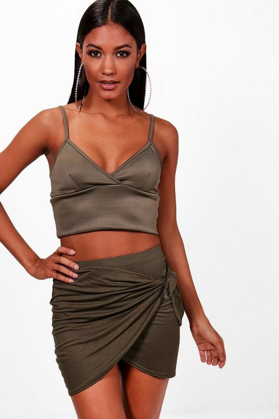 Wrap Front Tie Waist Jersey Mini Skirt
