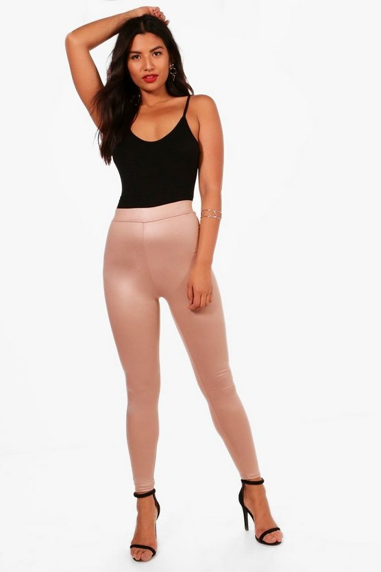 Camel High Waist Wet Look Leggings