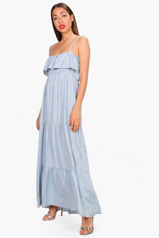 Ruffle Tiered Denim Maxi Dress