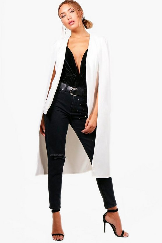High Low Woven Tailored Cape
