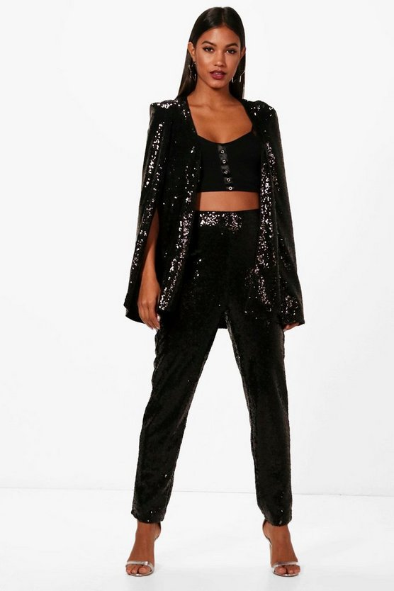 Black Boutique Sequin Tailored Suit Trouser