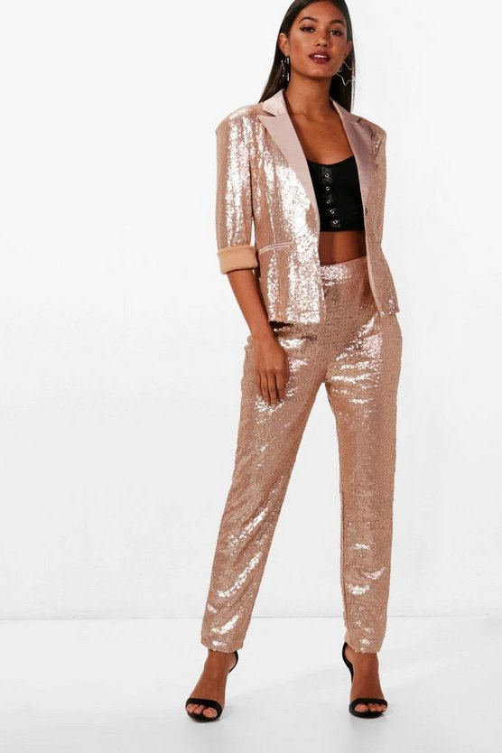 Boutique Sequin Tailored Suit Trouser