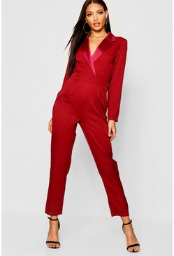 Womens Burgundy Tailored Tux Jumpsuit