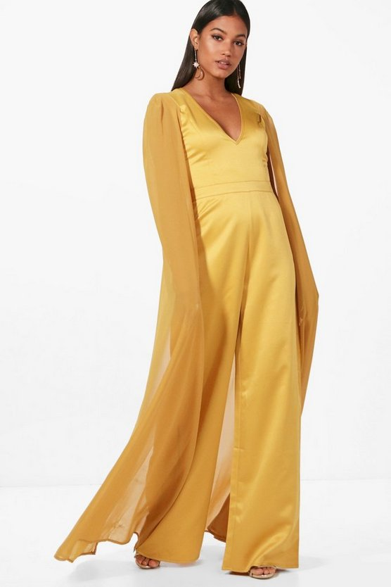 Boutique Cape Satin Tailored Jumpsuit