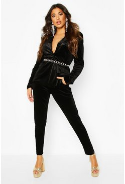 Womens Black Premium Velvet Suit Trouser