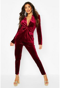 Womens Burgundy Premium Velvet Suit Pants