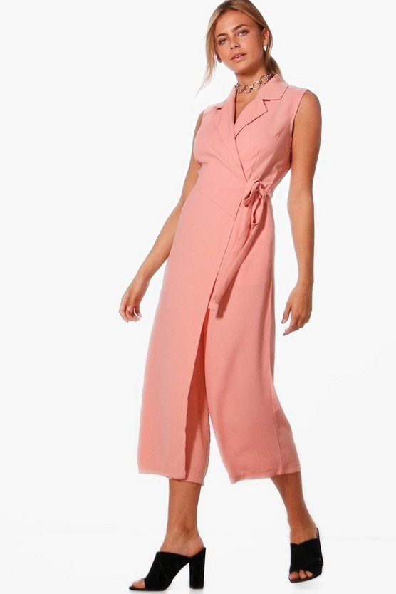 Rhyla Wrap Over Tie Side Woven Jumpsuit