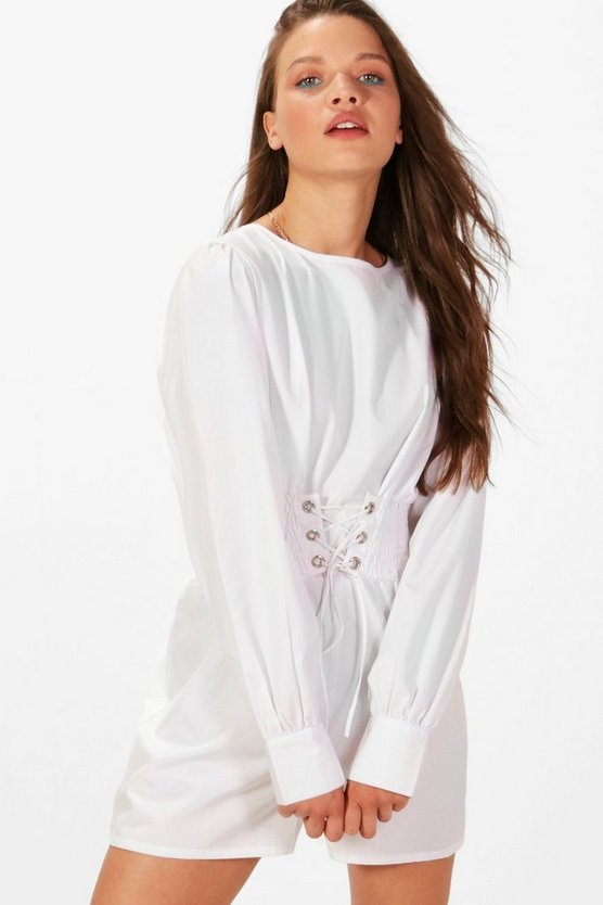 Corset Detail Long Sleeve Playsuit