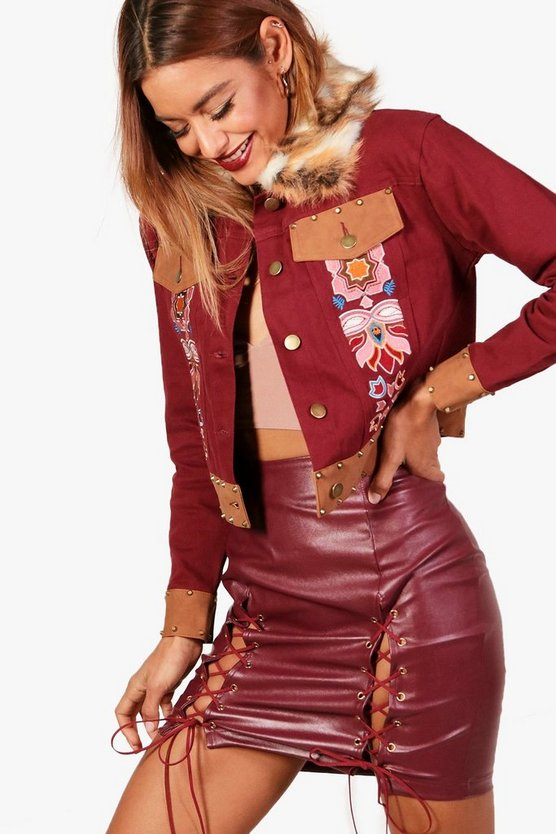 Embroidered Studded Faux Fur Collar Denim Jacket