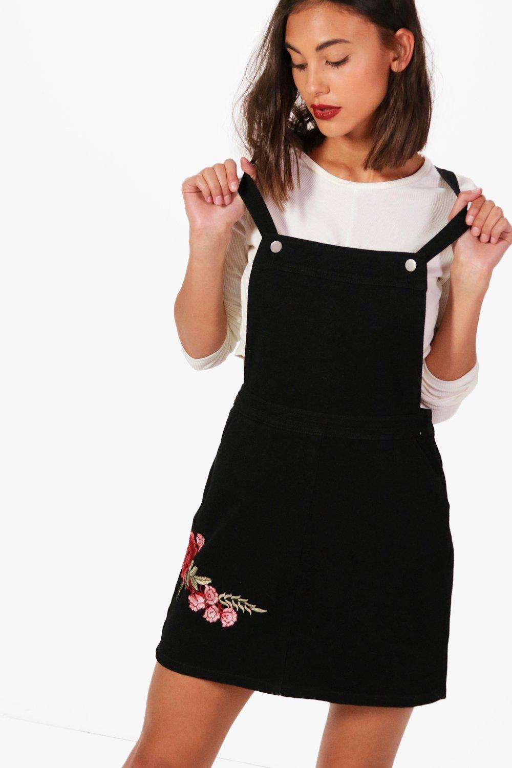 Pinafore Denim black Dress Embroidered Rose xPUZnqvan
