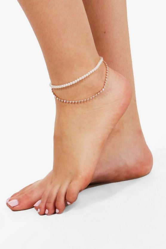 Lucy Pearl And Chain Layered Anklet