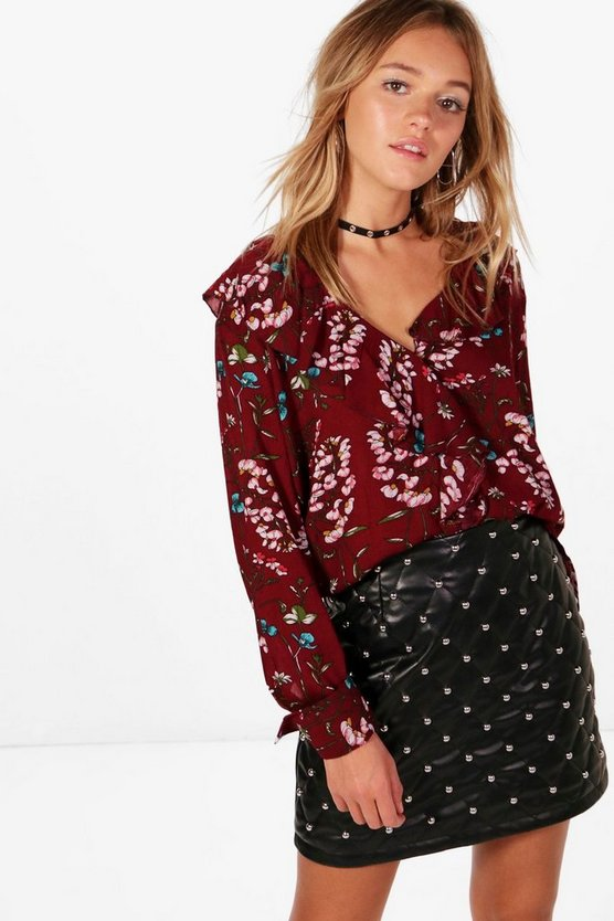 Woven Floral Ruffle Front Blouse