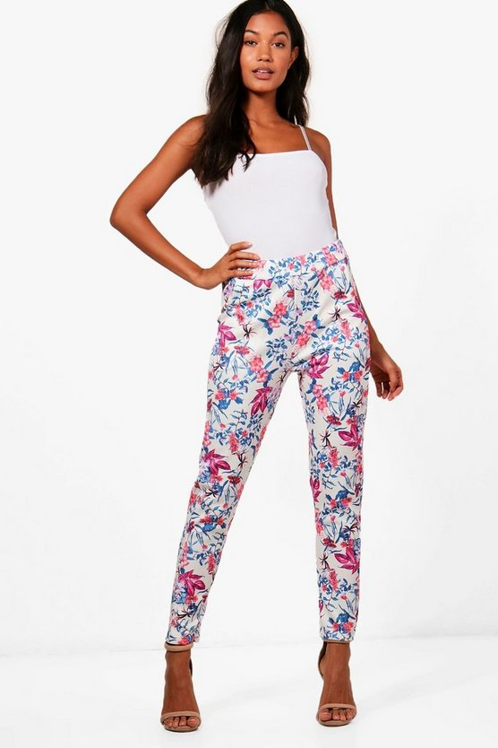 Floral Skinny Stretch Trousers