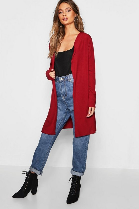 Turn Up Cuff Fine Knit Cardigan