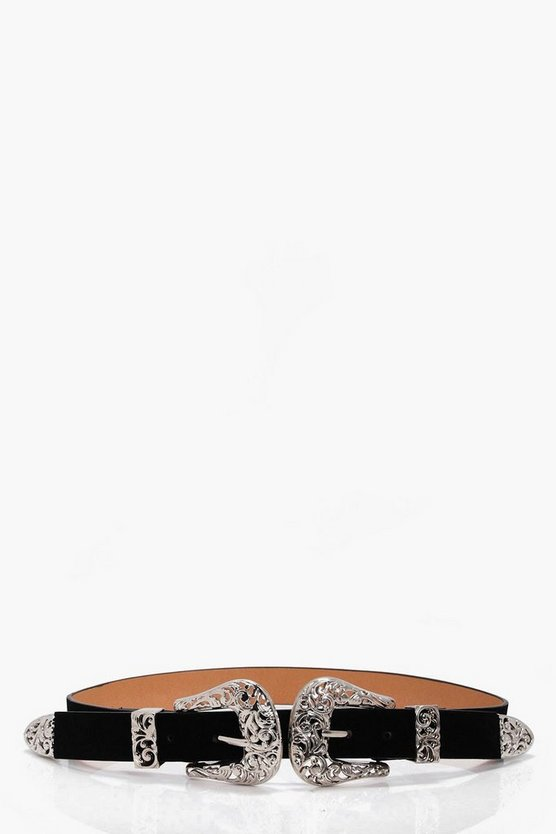 Filigree Buckle Suedette Waist Belt