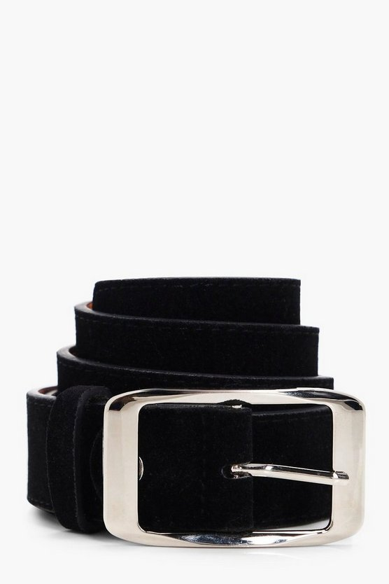 Womens Black Suedette Chunky Boyfriend Belt
