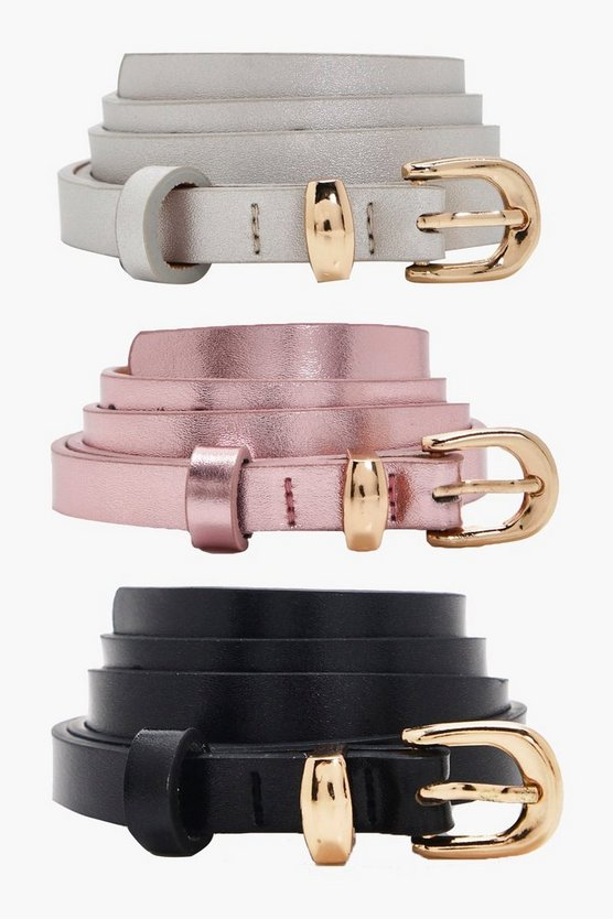 Metallic Skinny 3pk Belt
