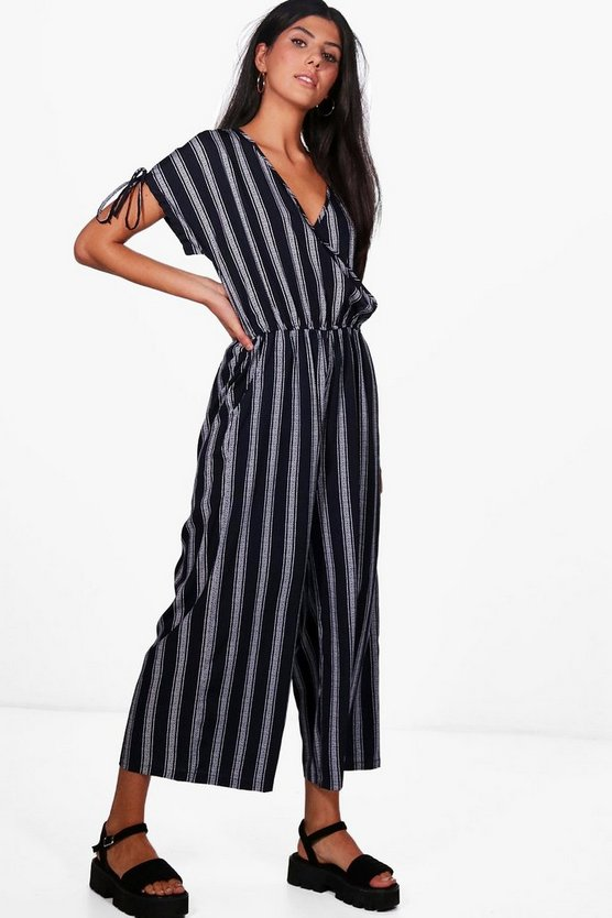 Wrap Front Capped Sleeve Jumpsuit