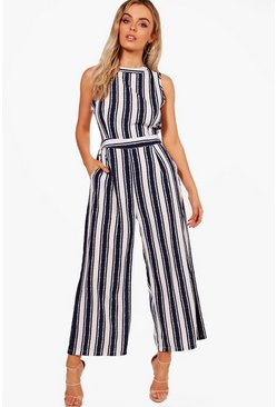 White Wide Stripe Culotte Jumpsuit