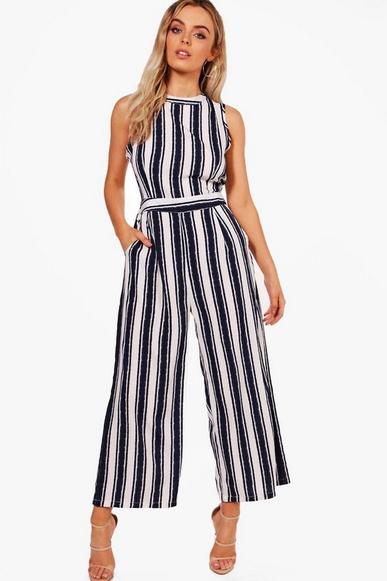 Womens White Wide Stripe Culotte Jumpsuit