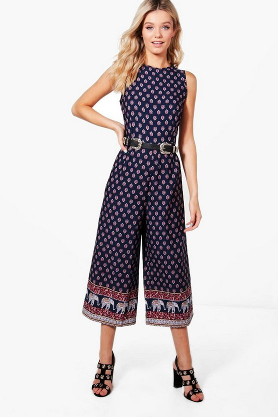 Leonie Border Print Belted Jumpsuit