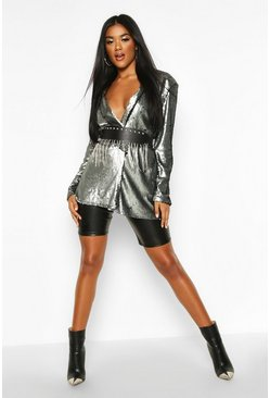 Womens Silver Sequin Tailored Blazer